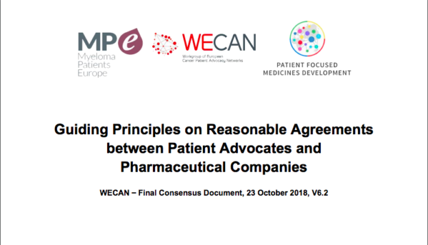 Guiding Principles on Reasonable Agreements between Patient Advocates and Pharmaceutical Companies